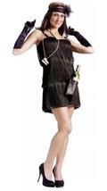 Black Flapper Costume s/m 2-8 Fancy Dress Fringe Pearl Necklace Shot Glasses - $24.74