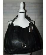 Boho Handbag Purse Black Faux Leather Patent Look Silver Accents Dana Bu... - $43.51
