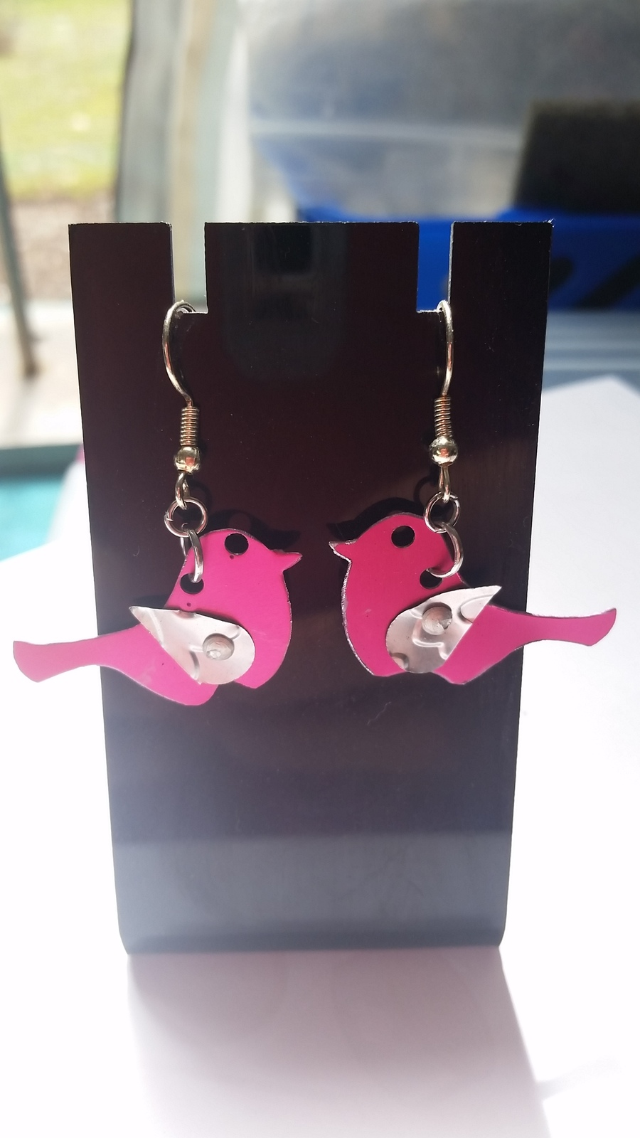 Pink bird anodized aluminum earring 39