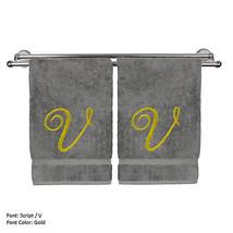 Monogrammed Washcloth Towel,13x13 Inches - Set of 2 - Gold Script - V - $27.99