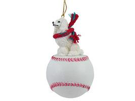 Poodle White Baseball Ornament - $17.99