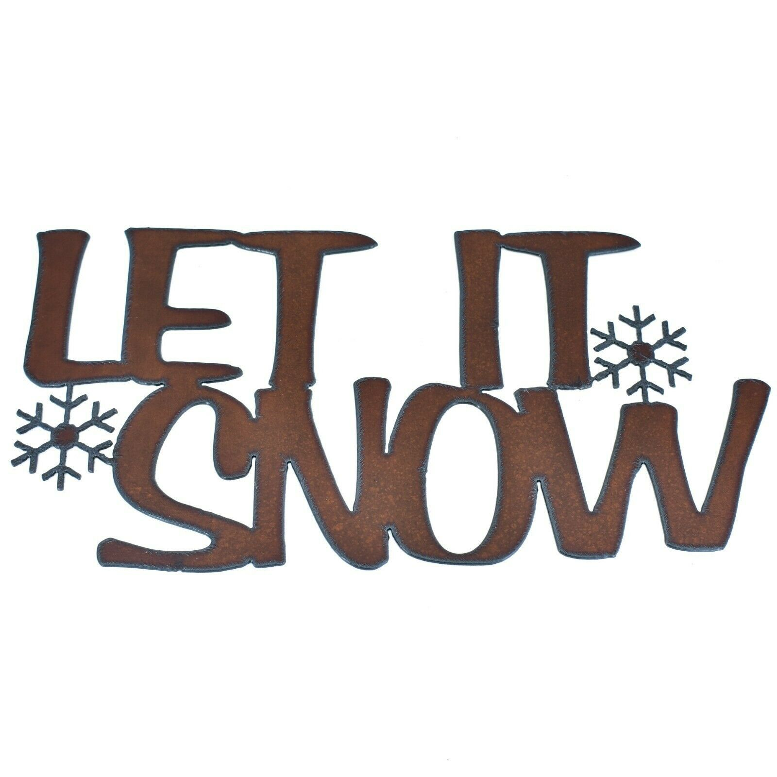 "Primary image for Rustic Rusted Patina Iron Metal Cutout Sign ""Let it Snow"" Winter 13"" Wall Decor"