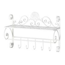 *18384B  White Flourish Iron Wall Shelf W/5 Hooks - $41.85