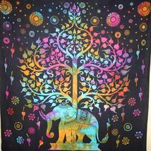 Multi Color Majestic Elephant And Tree of Life Tie Dye Tapestry - $39.99