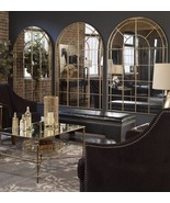 "THREE NEW HUGE 72"" HAND FORGED ARCHED AGED GOLD METAL WALL MIRRORS MODERN   - $2,313.63"