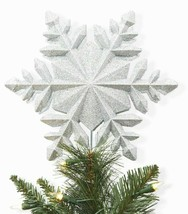 Wondershop 10'' Snowflake Projection Easy Clip Tree Topper Sparkly Silver NEW image 2