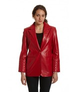 Quilted Style Women Leather Blazer - $180.00+