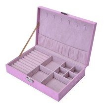 PINK or RED Velvet Lock & Key Scratch Protection Jewelry Box (11x2.5x7.5... - €29,66 EUR