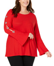 INC International Concepts Plus Size Women's Embellished Sleeve Top (Red... - $55.80