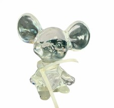 Fenton art glass figurine clear opalescent mouse mice ribbon sculpture g... - $49.45