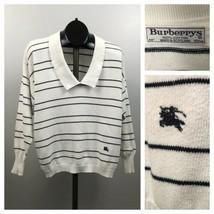 1990s Burberrys Sweater / Stripe Deep V Neck Pullover Sweater Top Scotla... - $89.00