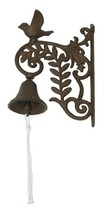 """Bell Wall Mount Cast Iron Bird 9 1/2""""H Farm Ranch Country Home Yard Pati... - $29.65"""