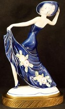 Hertwig & Co Katzhutte Porcelain Art Deco Dancing Lady Figurine Blue 1930's - $143.10