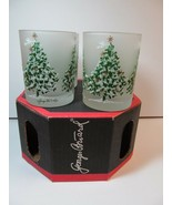 Double Old Fashioned Set 4 Glasses Frosted Christmas Tree Georges Briard... - $54.45