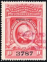 R334, $500 XF Centering Documentary Revenue Stamp Cat $375.00 - Stuart Katz - $325.00