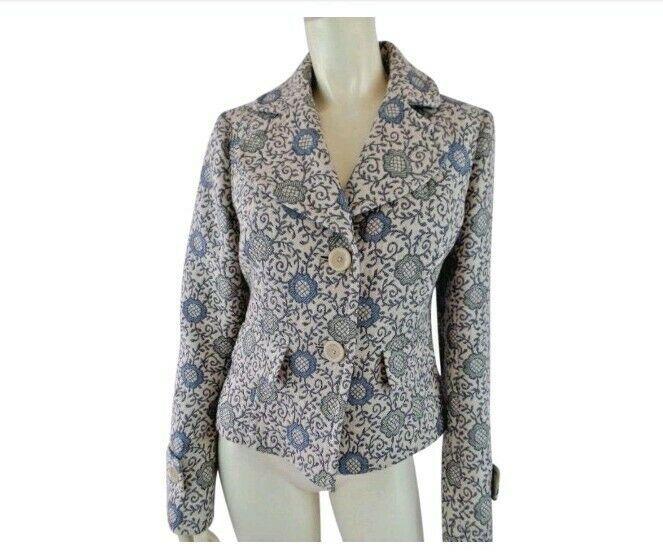 Ann Taylor Loft Blazer 4 Blue Tan Floral Brocade Wool Cotton Button Front New - $58.41