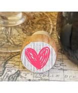 Wine Stopper, Pink Handrawn Heart Handmade Wood Bottle Stopper, Valentin... - $10.40