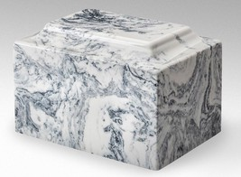 Classic Cultured Marble White & Black 50 Cubic Inches Cremation Urn TSA ... - $94.99
