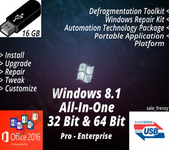 Windows 8.1 USB Flash Drive 32 & 64 Bit Install Reinstall Recovery & More - $24.99