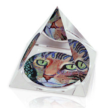 "Multicolor Cat Painting Illustrated Animal Art 2"" Crystal Pyramid Paperw... - $15.99"