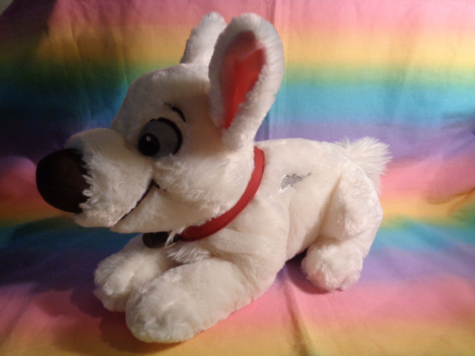 Disney Store Bolt Lying Down Puppy Dog Plush Soft Animal w/ Collar 15""