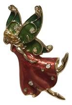 Macys Holiday Lane Fairy in Red Dress Brooch Pin - $14.84