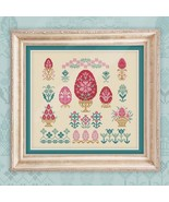 Counted Cross Stitch Hand Embroidery Kit, Easter Eggs, Easter Sampler - $49.66
