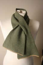 "Hackett London Geelong Wool Green Pull Through Scarf 39"" x 5"" - $26.60"