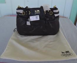 NWT $398 COACH 16359 Black Madison Carryall Leather Purse Satchel Crossb... - $299.95