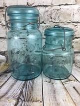 "2 Aqua Blue Ball Jar Glass Lid Metal Clasp 7.5""... - $44.88"