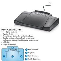 Philips LFH2330 USB 4 Function Transcription Foot Pedal - $54.99