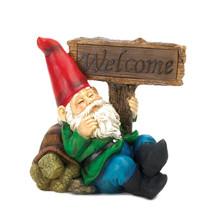 The Gnomes, Funny David The Gnome, Outdoor Miniature Welcome Gnome Solar... - $34.08