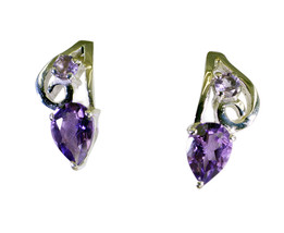 Amethyst gemstones Sterling Silver elegant genuine Purple Earring gift UK - $7.79