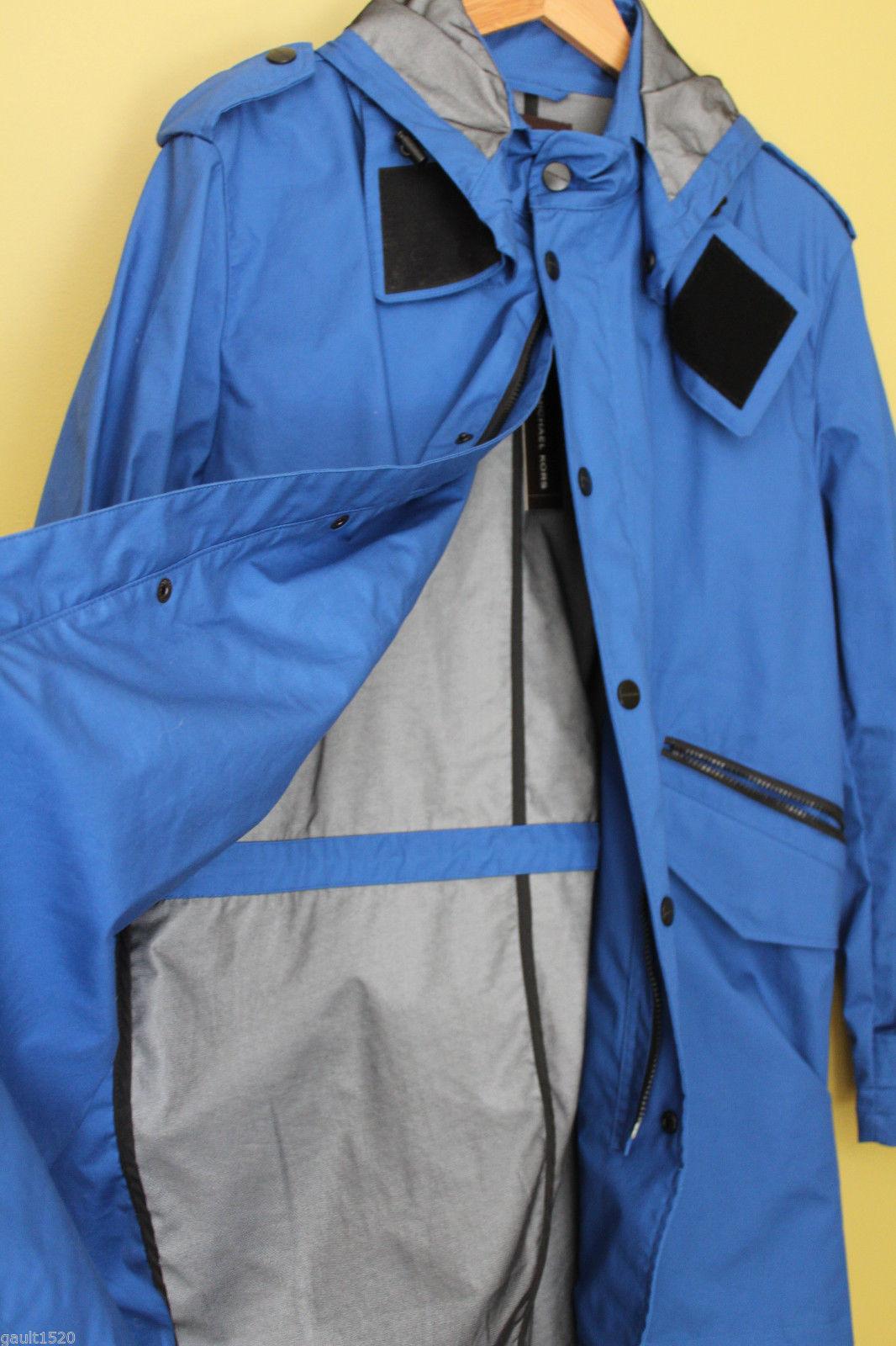 NWT Michael Kors Designer Men's Royal Blue Long Parka Hooded Jacket Coat L $395