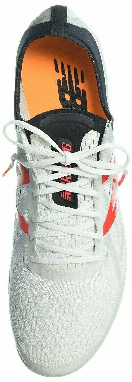 New Balance Men's mld5kwr5 White 4-Spike Track Shoe Sneaker Size 14, Orange Logo