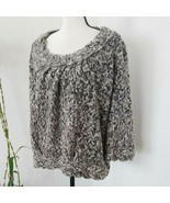 Vertigo Women's L Sweater Chunky Knit Gray 3/4 Sleeve Wool Mohair Blend ... - $27.12