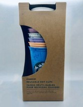 RARE NEW Starbucks Reusable Marble Hot Cups 6 Cups With Lids Summer 2019 - $30.69