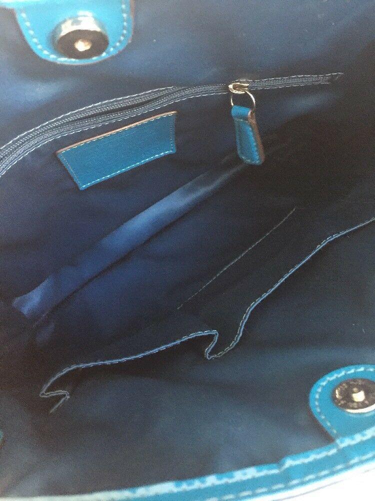 Coach Bag Poppy Liquid Gloss Slim Crossbody Tote Blue Patent Leather F19830 B2I