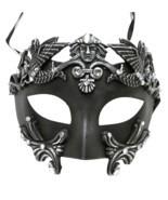 Roman Greek Emperor Men's Masquerade Mardi Gras Crystal Mask Silver - $27.54