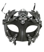 Roman Greek Emperor Men's Masquerade Mardi Gras Crystal Mask Silver - £22.09 GBP