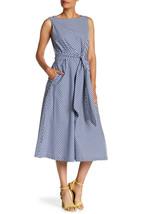 NWT Anne Klein Vera Midi in Navy Gingham Cotton Belted Fit & Flare Dress 10 - $34.00