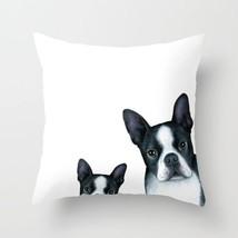 Throw Pillow Cushion case Made in USA Dog 128 Boston Terrier black white L.Dumas - $29.99+