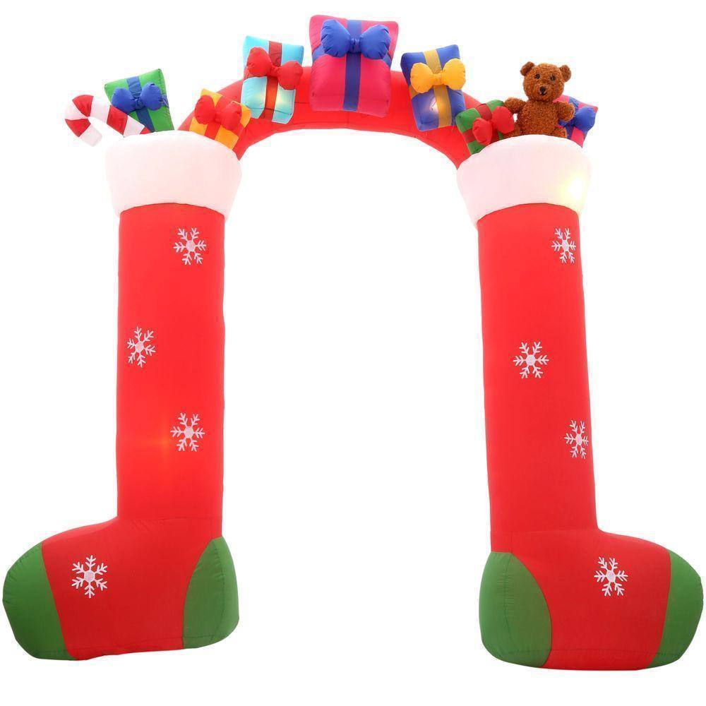 Halloween Airblown Inflatable Stockings with Gifts Archway 9 1/2'