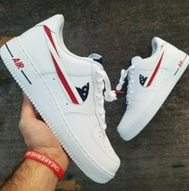 nike air force 1 white custom 'America swooshes' available in all sizes 6-14 - $210.00