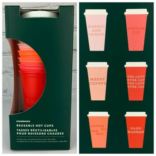 Starbucks 2019 Reusable Hot Cups With Lids Christmas Set Of 5 Venti 24oz NEW