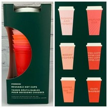 Starbucks 2019 Reusable Hot Cups With Lids Christmas Set Of 5 Venti 24oz NEW image 1