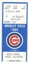 New York @ Chicago 8/8/92 Ticket Stub! Cubs 4 NY Mets 3 Dwight Gooden P - $4.99
