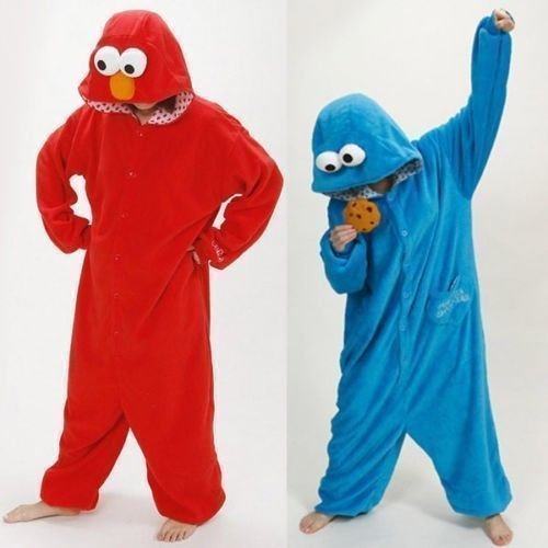 Primary image for Sesame Street Elmo Cookie Monster Costume Adult Pajamas Pyjamas Onesie1Sleepwear