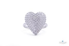 Triple Layer Large Heart Diamond Ring in 18k White Gold - $2,295.00