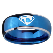 House of Van 8mm Two Tone Blue Dome Tungsten Carbide Ring - $43.99